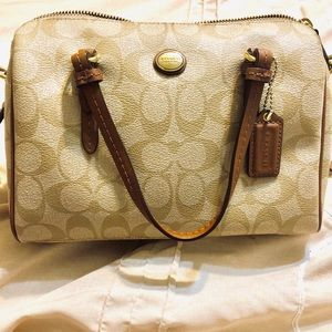 Coach signature canvas tan and brown crossbody
